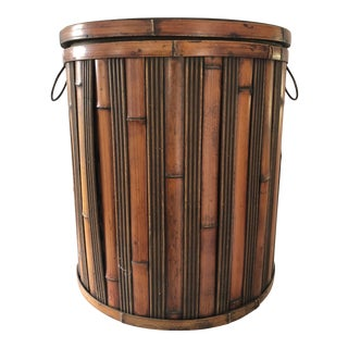 Vintage Large Bamboo Container For Sale