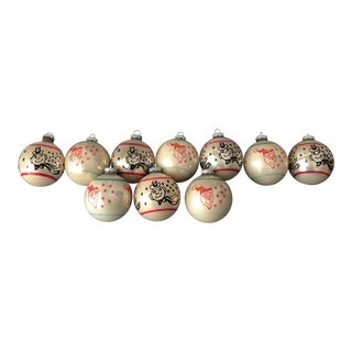 1950s Mid-Century Modern Holiday Shiny Bright Christmas Ornaments - Set of 10 For Sale