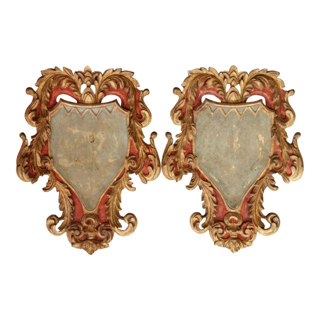 Early 20th Century Italian Carved Gilt and Painted Wall Hanging Shields - a Pair For Sale