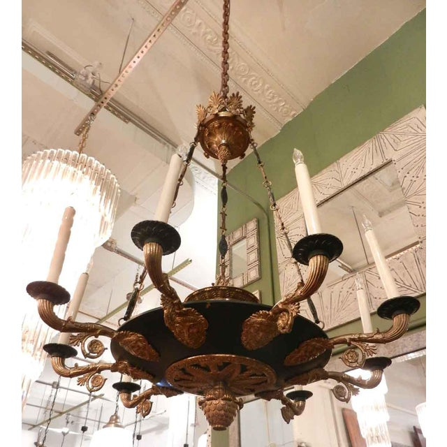 Two-Toned Empire 10 Light Bronze Chandelier For Sale - Image 9 of 11