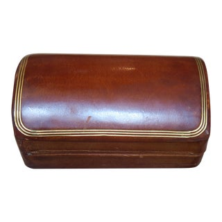Italian Leather and Wood Box For Sale