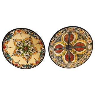 Hand-Painted Ceramic Serving or Decorative Plates - a Pair For Sale