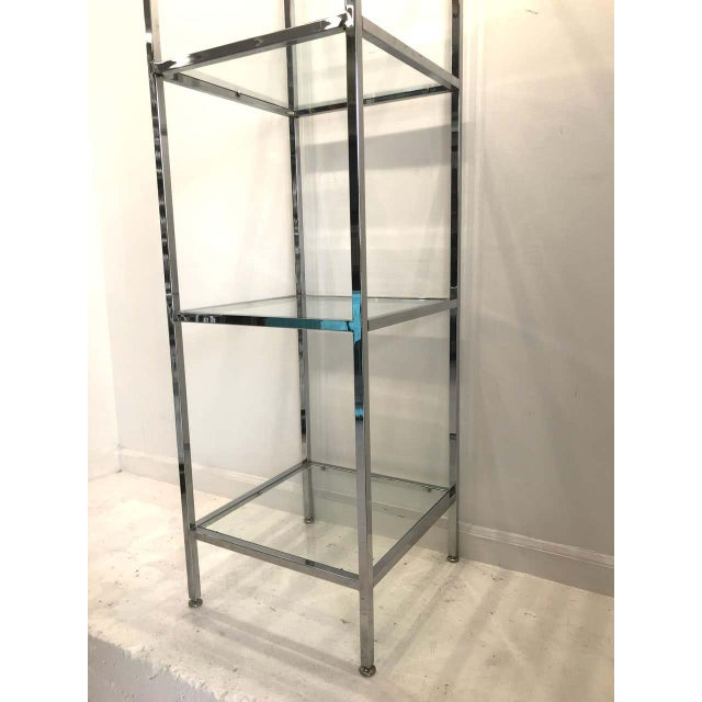 Metal Milo Baughman Style Tall Chrome and Glass Column Étagère For Sale - Image 7 of 10