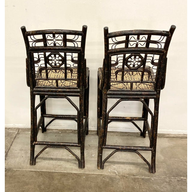 Chinoiserie Brighton Bamboo Counter Chairs - a Pair For Sale - Image 3 of 11