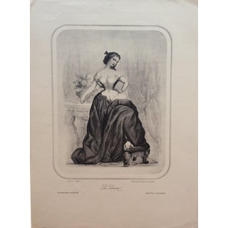 "Early 20th Century Antique French ""La Lionel"" Engraving Print For Sale"