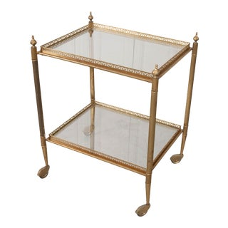 Early 20th Century English Brass and Glass Trolley For Sale
