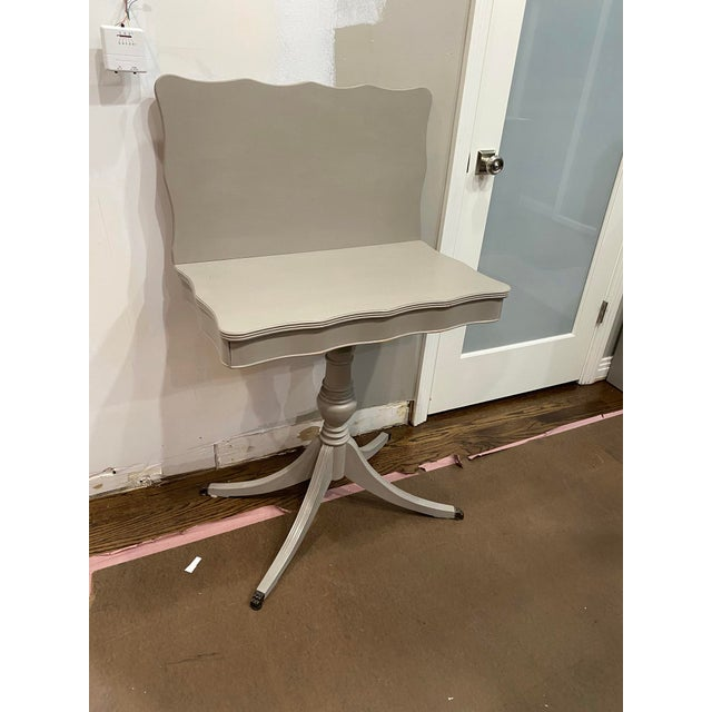 Dove Gray Vintage Traditional Flip Top Pedestal Table For Sale - Image 8 of 13