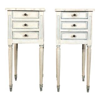 Pair Antique French Louis XVI Painted Nightstands For Sale