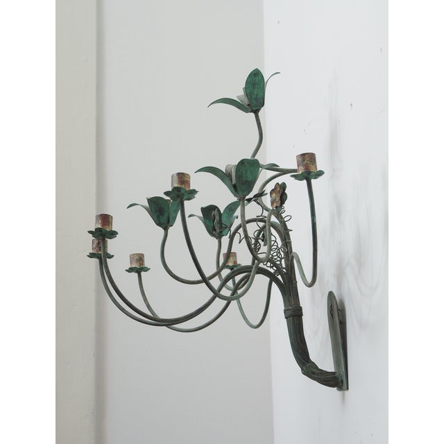 Turquoise Polychrome Wall Lights with Springy Flowers For Sale - Image 8 of 9