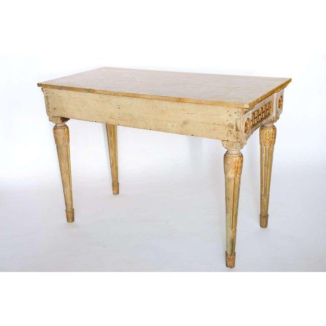 Wood Fine Italian Neoclassic Painted and Parcel-Gilt Console, Roman Late 18th Century For Sale - Image 7 of 11