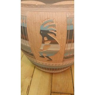 Vintage Dine Navajo Kokopelli Incised Jardiniere Vase Preview