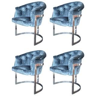 Set of Four Blue Velvet Milo Baughman Chairs For Sale