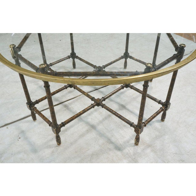 Baker Brass & Glass Tray Top Faux Wood Bamboo Coffee Table, Circa 1960 - Image 9 of 9
