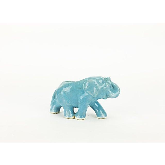 Vintage Blue Ceramic Elephant Planter - Image 2 of 6