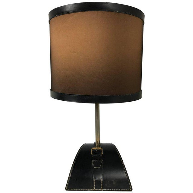 Jacques Adnet Stitched Leather Table Lamp For Sale In Philadelphia - Image 6 of 6