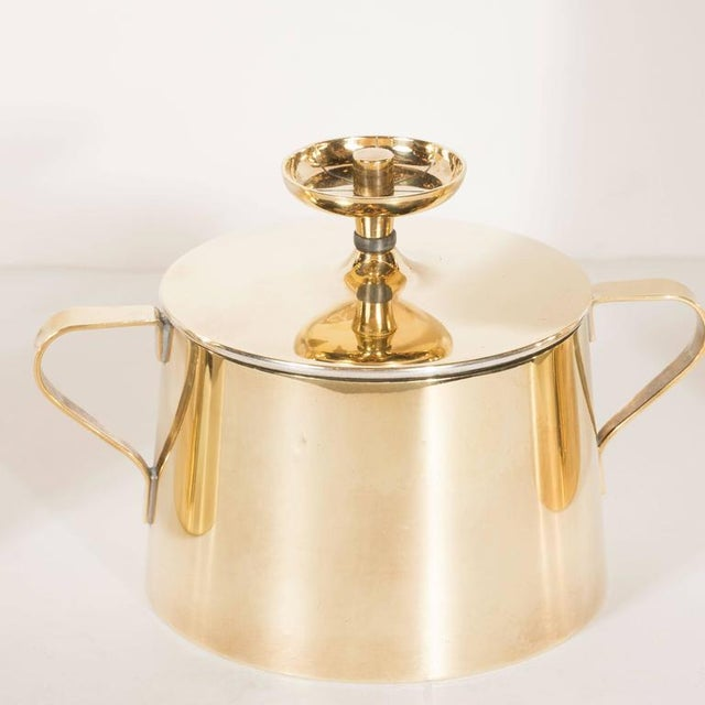 Dorlyn Silversmiths Tommi Parzinger for Dorlyn Silversmiths Coffee/Tea Service in Brass and Walnut For Sale - Image 4 of 11