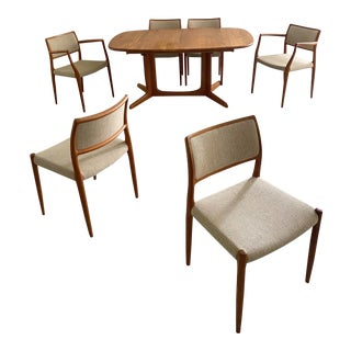 Mid Century Danish Modern Niels Møller for j.l. Møllers Møbelfabrik Dining Set - 7 Pieces For Sale