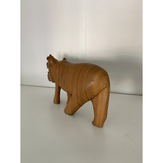 Vintage Hand Carved Wooden African Hippo For Sale - Image 4 of 6