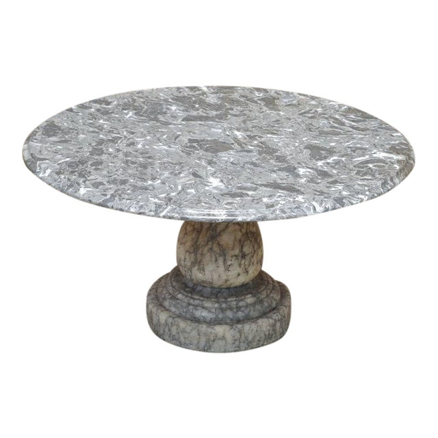 Vintage Decorator Hollywood Regency Italian Grey Marble Round Coffee Table For Sale