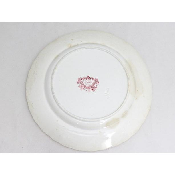 English 1830s F. Dillon China Red & White Transfer Plate For Sale - Image 3 of 10