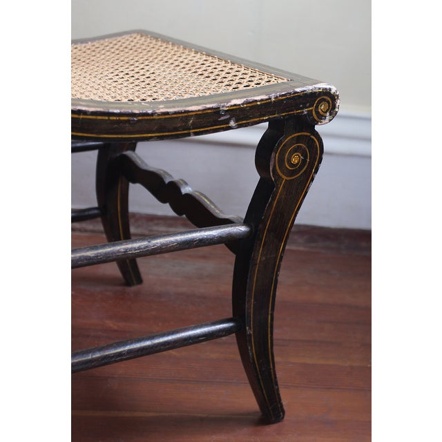 Antique Hand Painted Caned Chair - Image 4 of 5