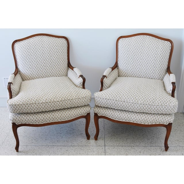 Vintage French-Style Newly Upholstered Bergere Chairs - Pair For Sale - Image 13 of 13