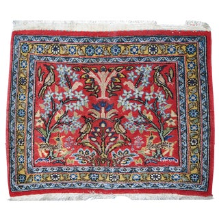 1950s Hand Made Vintage Persian Tabriz Mat - 1′6″ × 1′8″ For Sale