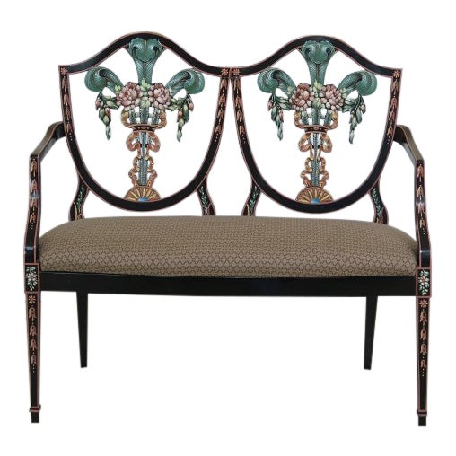Italian Made Hepplewhite Paint Decorated Double Settee For Sale