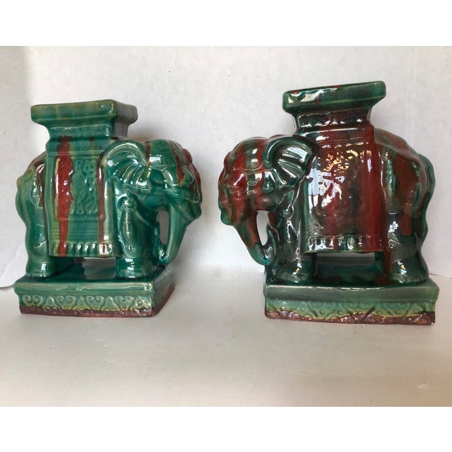 Drip Glaze Ceramic Elephant Statues - A Pair - Image 3 of 6