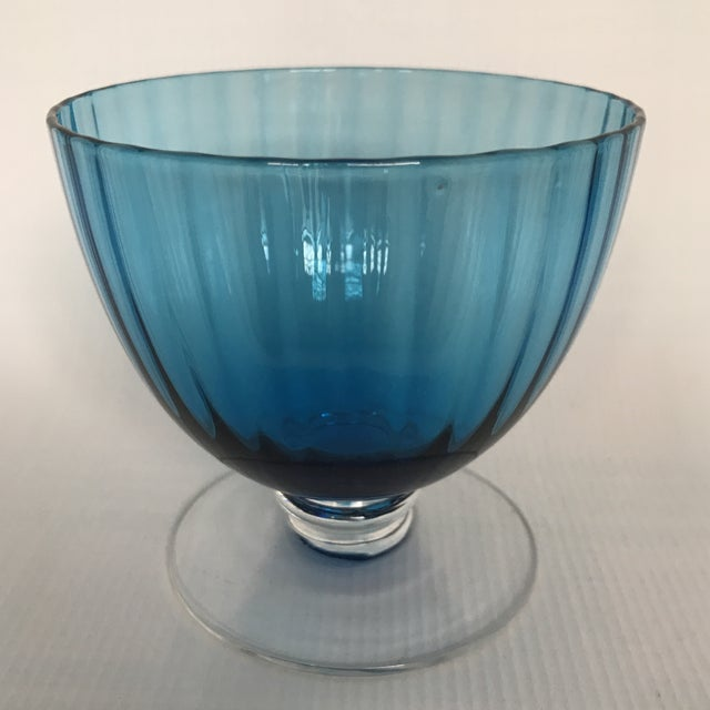 Blue Glass Footed Dessert Cups - A Pair For Sale - Image 4 of 5