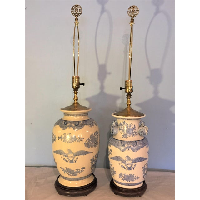 Companionable Chinese Export Style Porcelain Lamps - a Pair - Image 6 of 9