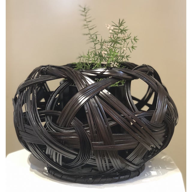 Asian Japanese Style Bamboo Flower Basket For Sale - Image 3 of 4