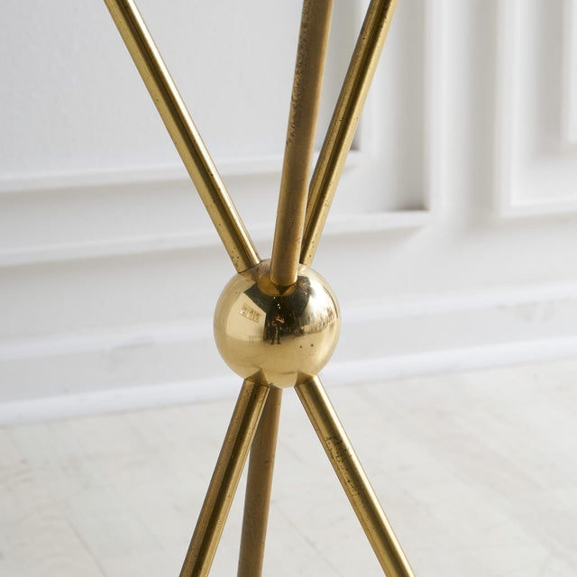 Mid-Century Modern Brass Tripod Table With Arrow Motif Attributed to Maison Jansen For Sale - Image 3 of 7
