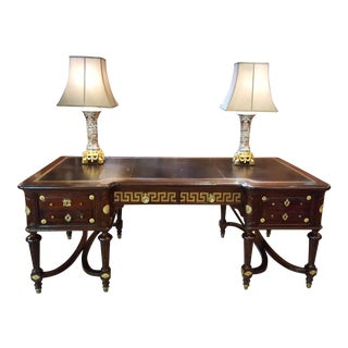 Antique French Louis XVI Style Mahogany Bureau Plat with Ormolu Fittings circa 1890 For Sale