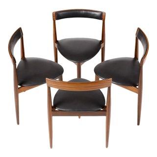 Hans Olsen for Frem Rojle Danish Modern / Mid Century African Teak Dining Chairs - Set of 4 For Sale