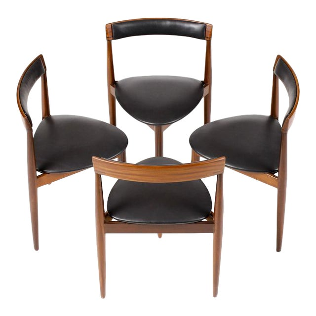 Hans Olsen for Frem Rojle Danish Modern / Mid Century African Teak Dining Chairs - Set of 4 For Sale