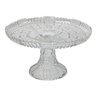 Mid-Century Pressed Glass Cake Stand