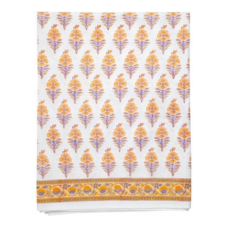 Juhi Flower Flat Sheet, Queen - Yellow For Sale