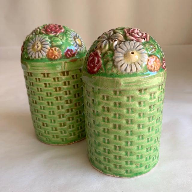 Large Vintage Floral Ceramic Salt & Pepper Shakers, a Pair For Sale - Image 9 of 10