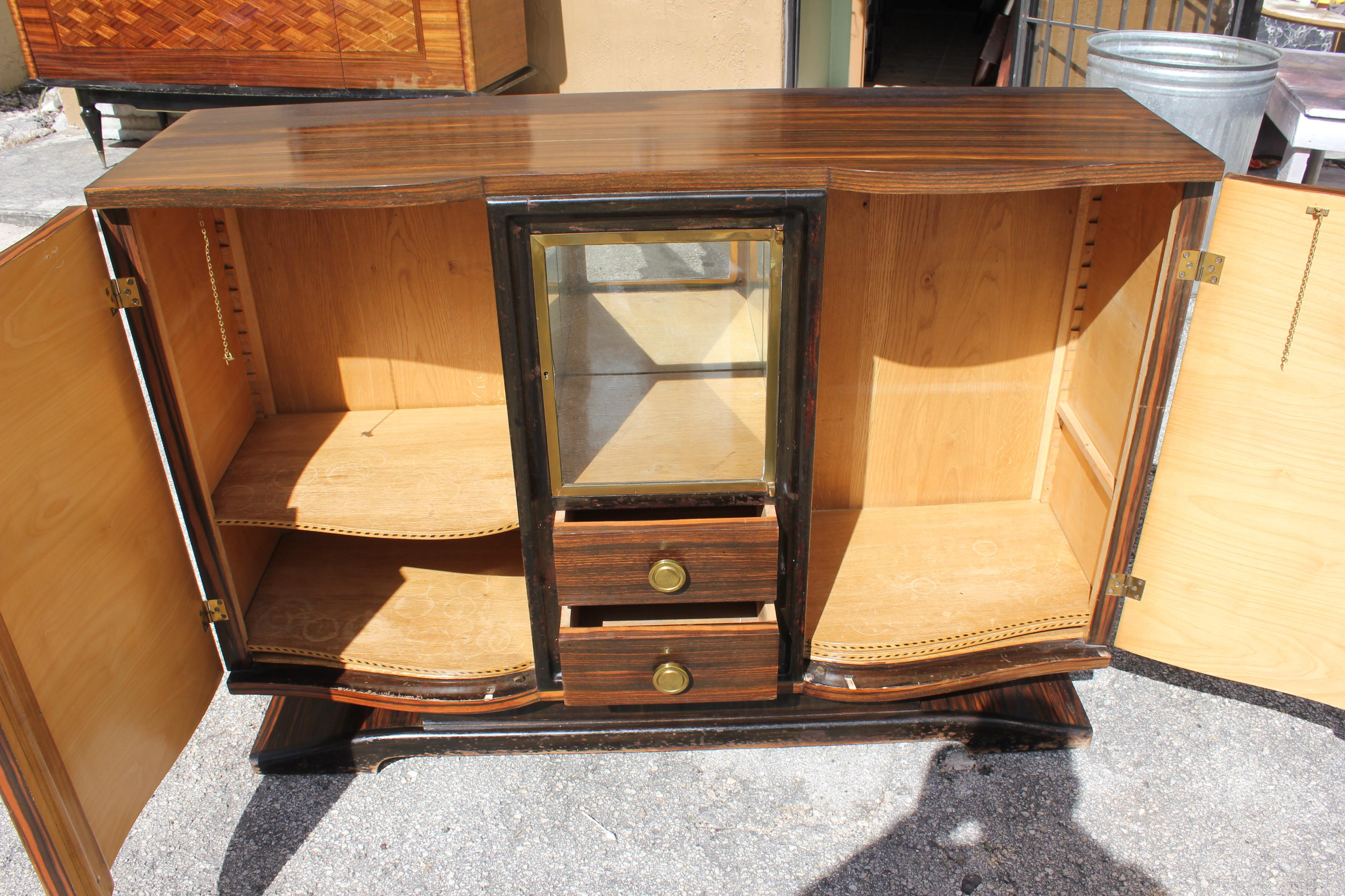 Elegant Maurice Rinck French Art Deco Macassar Ebony Sideboard Or