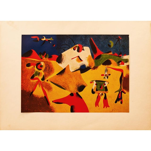 """Lithograph Early 1940s Juan Miró, Original Period Lithograph """"Characters, Mountain, Sky, Star and Birds"""" For Sale - Image 7 of 8"""