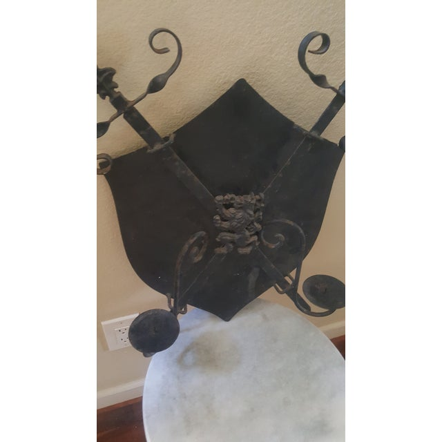 Gothic Mid-Century Cast Iron Coat of Arms Wall Hanging For Sale - Image 3 of 5