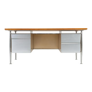 Industrial Teak and Aluminum Executive Desk by Welton Becket For Sale