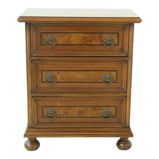 Italian Made Burl Walnut 3 Drawer Accent Chest For Sale