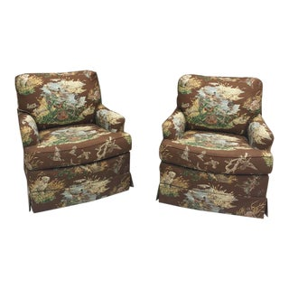 21st Century Vintage Wesley Hall Swivel Club Chair - a Pair For Sale