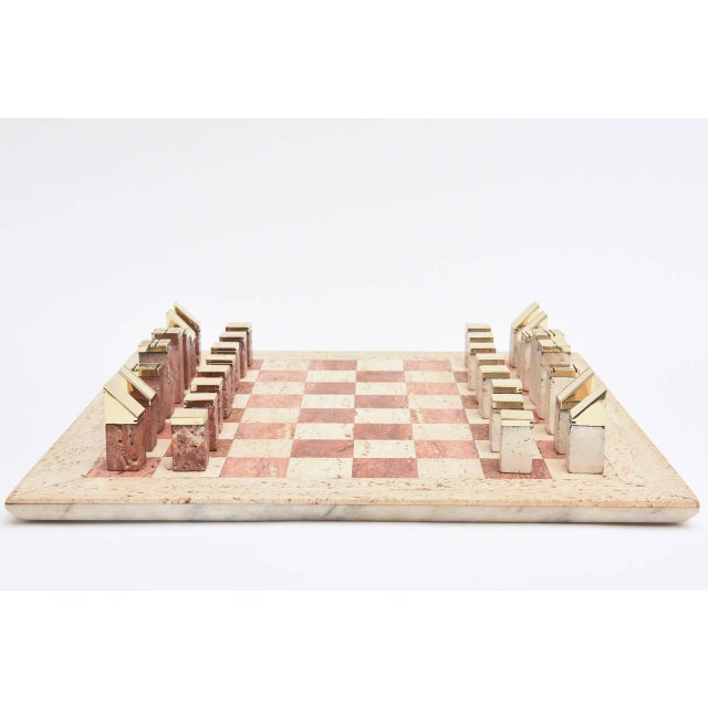 Brass Italian Vintage Travertine and Brass Modernist Chess Set For Sale - Image 7 of 10