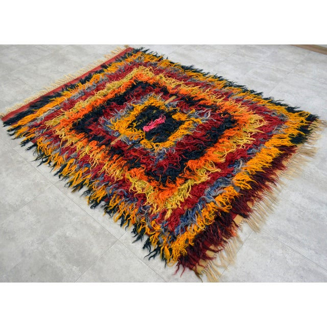 Antique Turkish Oushak Shaggy Mohair Tulu Rug - 4′6″ × 6′3″ - Image 2 of 10