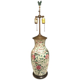 Chinese Large Jar Decorated With Bird and Roses Mounted as a Lamp For Sale