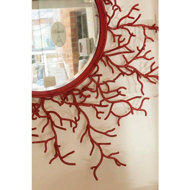 """Vintage Spanish Painted Metal """"Coral"""" Mirror - Image 2 of 3"""
