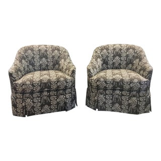 Duralee Swivel Barrel Chairs in Osbourne and Little Floral Linen Stripe - a Pair For Sale